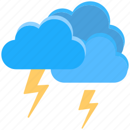 clouds, flat icon, lightning, lightning sign, thunderstorm icon