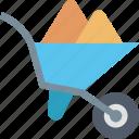 wheelbarrow, farming, equipment, gardening, construction, tool, soil icon