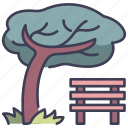 bench, chair, garden, outdoor, park, seat, tree icon