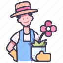 farming, flower, garden, gardening, male, men, people icon