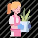 farming, female, flower, garden, gardening, people, women icon