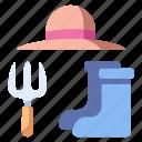 boots, garden, gardener, gardening, hat, hobby, outfit icon