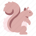 animal, cute, forest, garden, squirrel, tail, tree icon