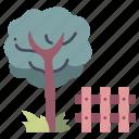fence, garden, grass, house, nature, tree, wood