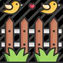 fence, bird, farm, garden