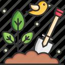 shovel, fertilizer, compost, organic, agriculture, crate, leaf