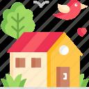 home, garden, house, gardening, bird icon