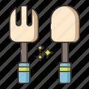 cutlery, fork, spoon
