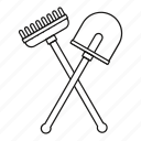 garden, gardener, gardening, line, outline, rake, shovel icon