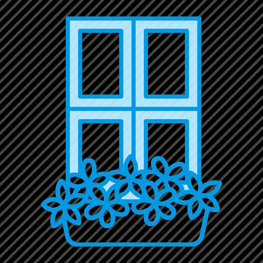 box, flowers, gardening, window icon