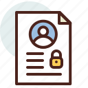 data, file, id, information, personal, security icon