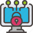 computer, desktop, eu, gdpr, padlock, secure, security icon icon