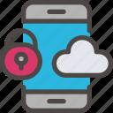 cloud, eu, gdpr, phone, secure, security icon, smartphone icon icon