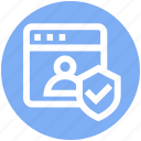 internet, person, security, shield, user privacy, user protection, webpage icon
