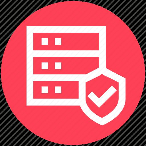 database, protection, secure database, security, server, shield, storage icon