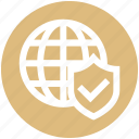 globe, internet, protection, security, shield, tick, world