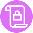 document, file, lock, page, paper, security, text icon
