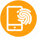 app, fingerprint, fingerprint protection, fingerprint scanner, mobile, secured mobile, smartphone icon