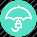 insurance, lock, protection, rain, security, success, umbrella icon