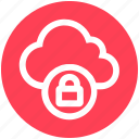 cloud, cloud lock, cloud security, lock, protection, security, sky icon