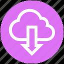 arrow, cloud, cloud computing, cloud network, down, download, storage