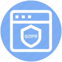 gdpr, internet, protection, safety, security, shield, webpage icon