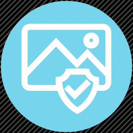 accept, image, landscape, photo, picture, security, shield icon