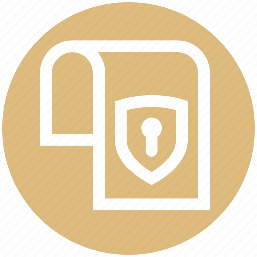 document, gdpr, lock, page, paper, protection, shield icon