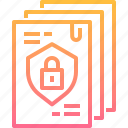 data, document, file, lock, protection, security icon