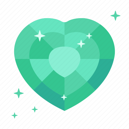 diamond, emerald, heart, jewellery, luck, success, wealth icon