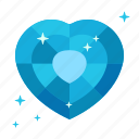 clean, diamond, glass, heart, jewel, jewelry, sapphire icon