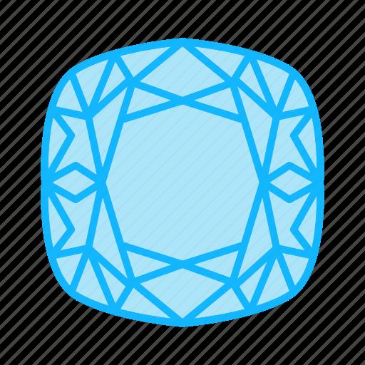 cushion, diamond, gem, gemstone, jewel, jewelry icon