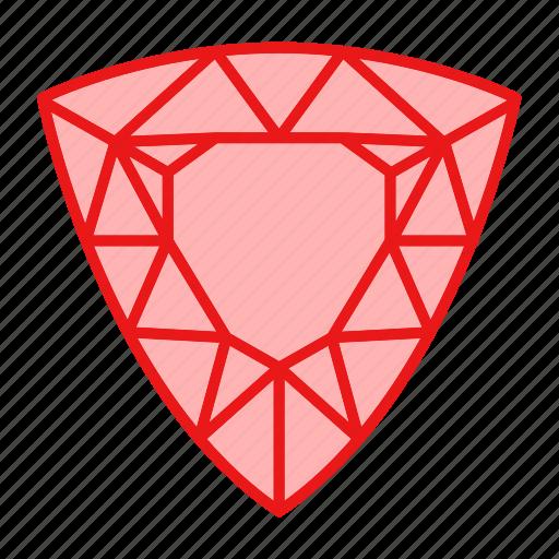 diamond, gem, gemstone, jewel, jewelry, trillion icon