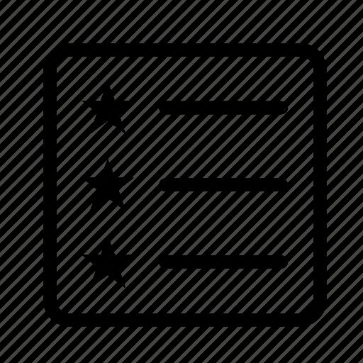 list, list view, star, verify icon