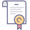agreement, certificate, copyright, license icon