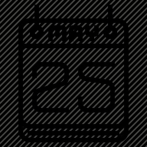25 may, calendar, gdpr, general data protection regulation icon