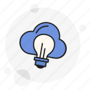 brainstorming, bulb, cloud, idea, innovation, solution, think icon