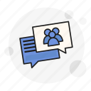 chat, communications, discuss, forum, group, message, talk icon