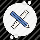 measure, pencil, ruler, school, tech, technical, tools icon