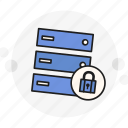 data, encrypted, locked, padlock, password, secure, server icon