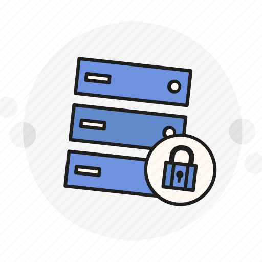 data, encrypted, locked, padlock, password, secure, server icon