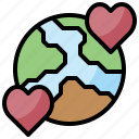 earth, globe, heart, love, peace, world icon