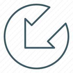 arrow, direction, down, left, point out icon
