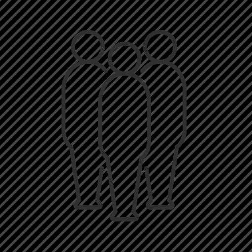 audience, avatar, meeting, small team, three people, unisex icon