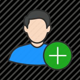 add user, create user, male avatar, male user icon