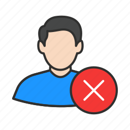 cancel user, delete user, erase user, male avatar icon