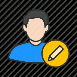 add user, create user, edit user, male avatar icon