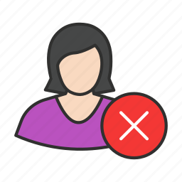 cancel user, delete user, erase user, female avatar icon