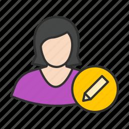 create user, edit user, felame user, female avatar icon