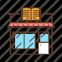 book, bookstore, building, genre, library, literature icon